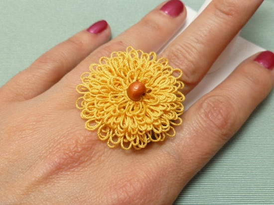 Tatted Flower Cocktail Ring  Mum in Gold with wood by SnappyTatter, $18.00