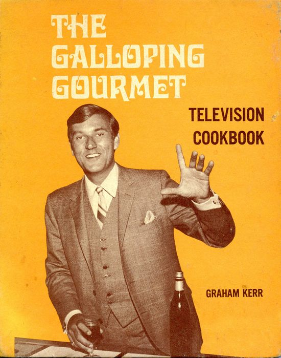 rechercher:    Graham Kerr enjoys a nice glass of something on the cover of The Galloping Gourmet Television Cookbook, via living-in-retro-world: