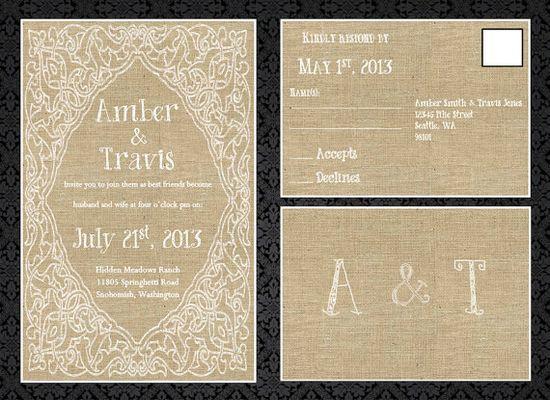Burlap Lace Wedding Invitation  Printable by SnarlingChihuahua