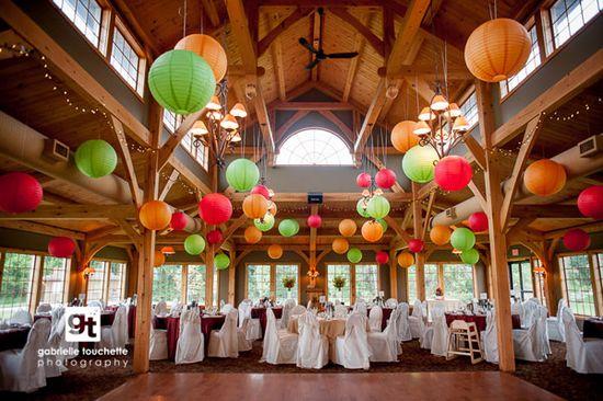Wedding Reception decor with paper lanterns