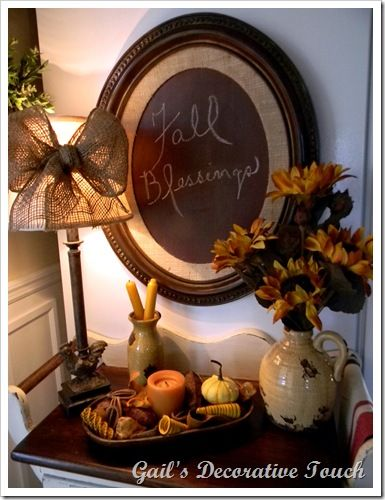 thrift store frame, burlap covering the mat and brown chalkboard paint