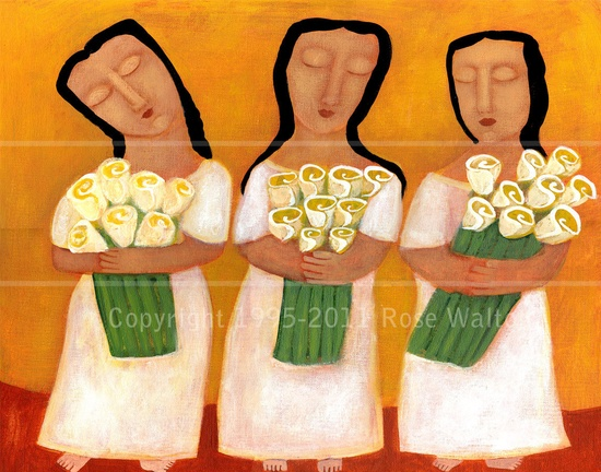 Three Little Flower Girls primitive  folk art  by Pennsylvania folk artist Rose Walton