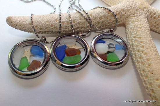 The cutest beach glass porthole pendants. awesome idea to do with old pocket watches