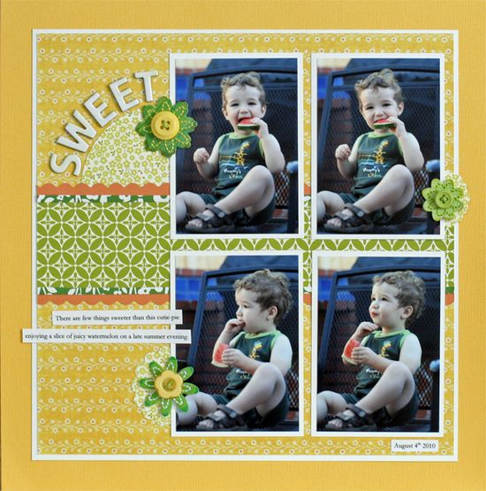 #papercraft #scrapbook #layouts 4-photo layout, with PP behind. #scrapbooking #layout