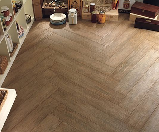Wood tile floor + Chevron