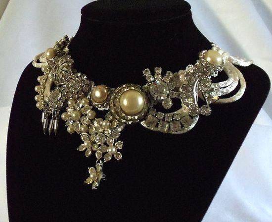 Rhinestone necklace#white#silk ribbon#vintage stones#pearls#bridal#couture