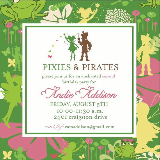 Pixies & Pirates, nice idea to add Pirates so the boys can dress up too.