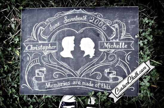 Wedding sign - chalkboard art for weddings - custom painted - save the date. $139.00, via Etsy.