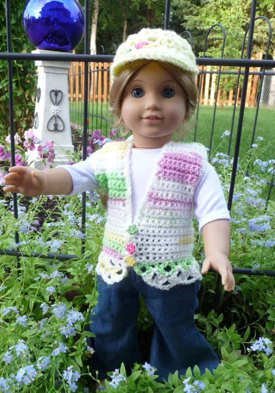 Crocheted Vest and Hat for American Girl Dolls -Yellow with Stripes-  ready to ship. $18.00, via Etsy.