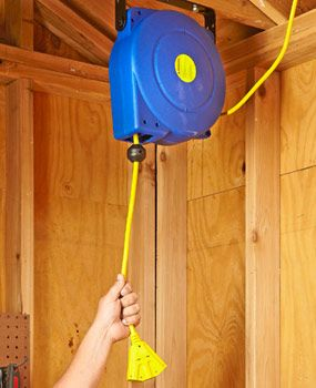"""Retracting extension cord reel: Keep your extension cord plugged in and ready to go, yet stored neatly out of the way. Senior Editor Gary Wentz says """"Even non-DIYers will love it: My wife uses it when she vacuums her car or inflates the kiddie pool."""" Prices start at about $50 at home centers and online through our affiliation with amazon.com."""