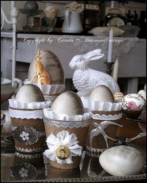 embellished simple peat pots for Easter decor