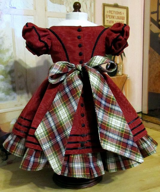 1850's Christmas Gown- Back View by Keepersdollyduds, via Flickr