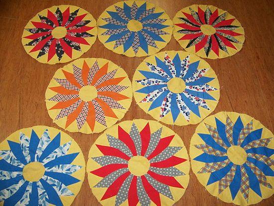 Set of 8 Large 1940s Handmade Quilt Blocks 16