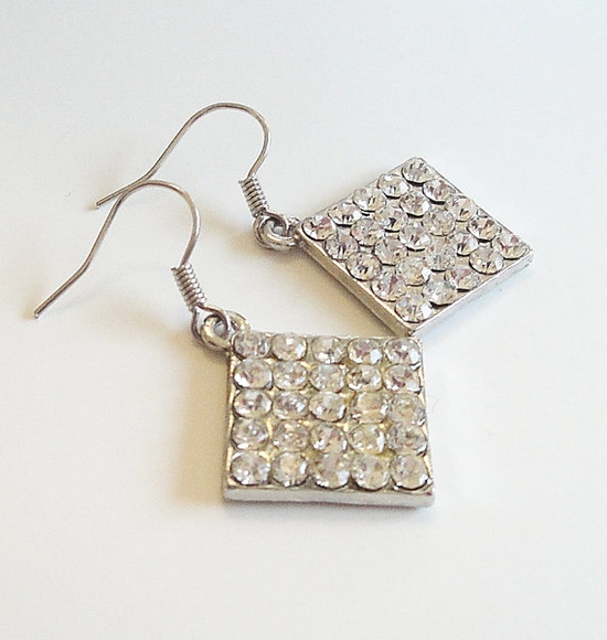 Clear Rhinestone Diamond Shaped Silver Earrings by BijiBijoux, $15.00