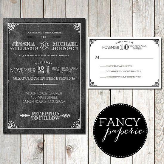 Retro Chalkboard Wedding Invitations #retro #wedding #weddinginvitations #chalkboard