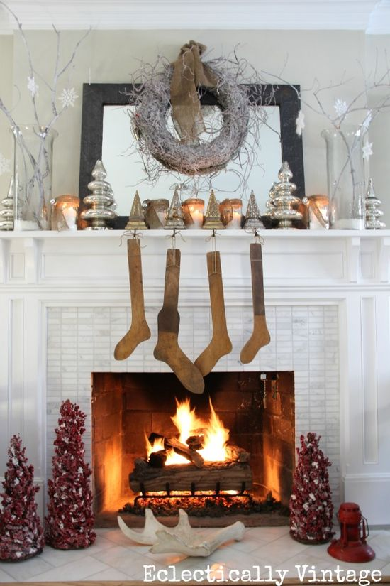 Christmas House Tour - this is such a dreamy white mantel!  eclecticallyvinta...
