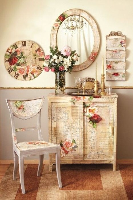 The richly beautiful motherload of sublimely lovely floral/vintage/shabby chic home decor. #furniture #vintage #shabby #chic #home #decor #chair #clock #mirror #storage #beautiful