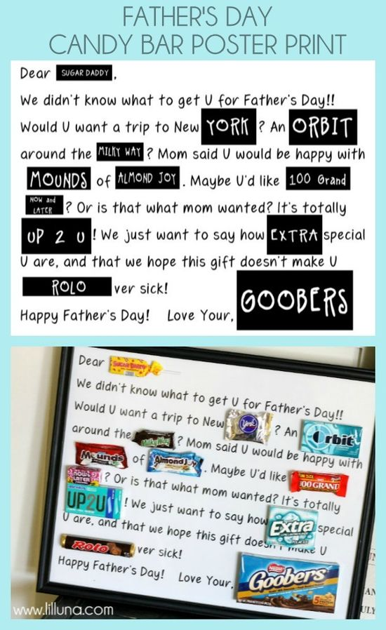 Father's Day Candy Bar Poster Print