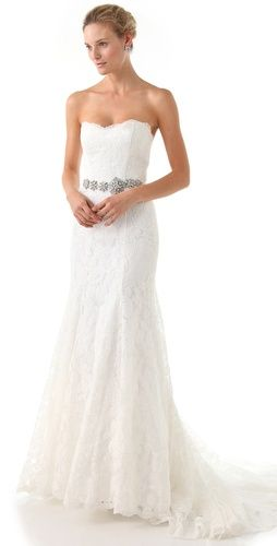 Love, Yu Strapless Lace Gown