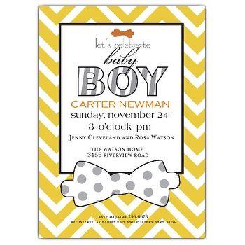 Bowtie Yellow Baby Boy Shower Invitation