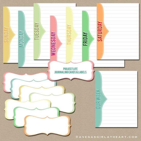 Freebie - Days of the Week Project Life Cards #freeprintables