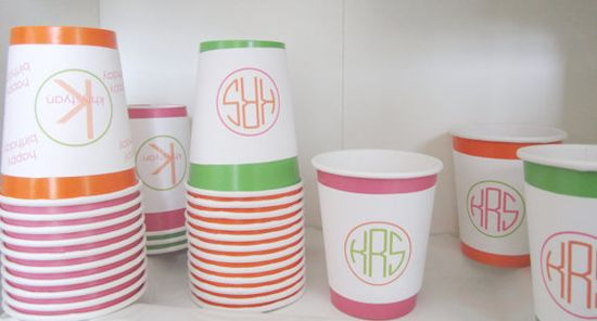 Monogrammed party cups.