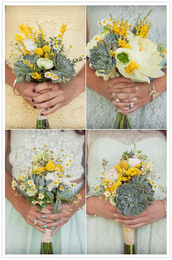 yellow, white and succulent bouquets