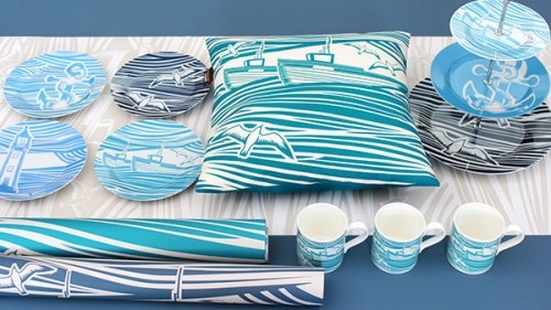 win some natty, nautical home decor -  Mini Moderns take their influences from mid-century British textiles, vintage toys, literature and childhood memories. They make wallpapers, cushions, ceramics, and a host of other gorgeous home furnishings. We're offering two lucky winners wallpaper, tableware and cushions from their delightfully nautical Whitby collection
