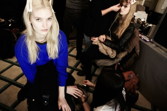 Backstage at the Mulberry show, London Fashion Week