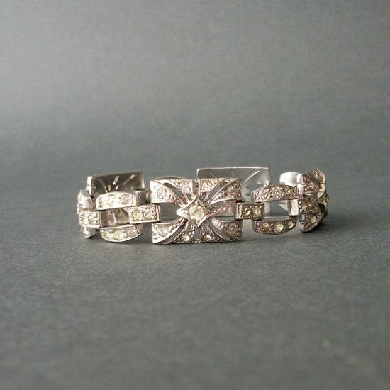Art Deco Rhinestone Bracelet  1920s  Openwork Links  by pinguim, $132.00