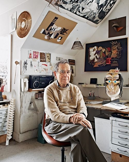 Industrial designer Irving Harper, who now creates paper sculptures