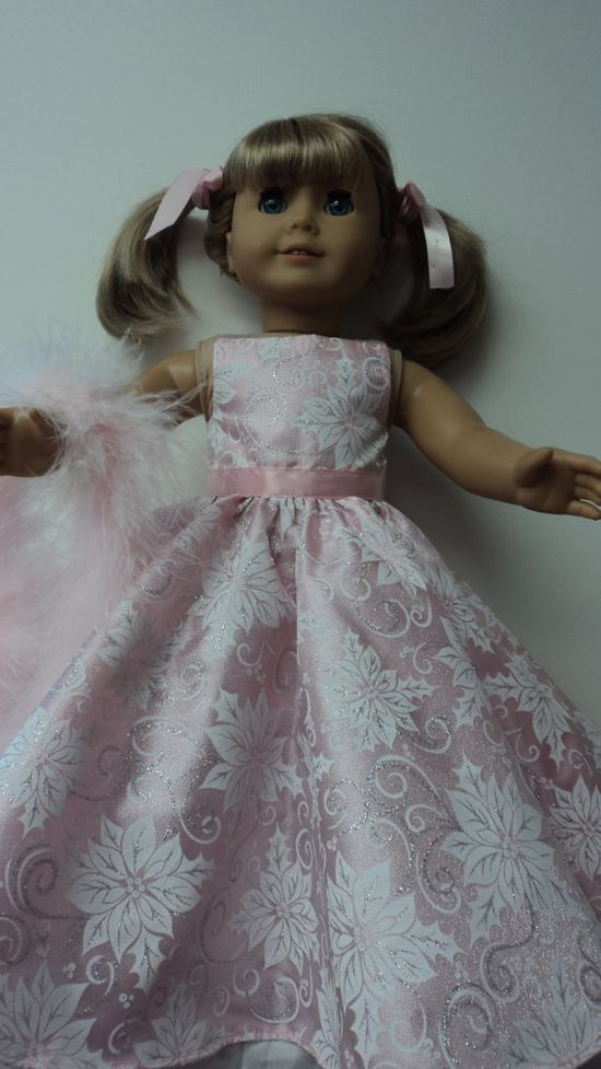 American Girl doll clothes  Pink Floral Gown and by susiestitchit, $17.00