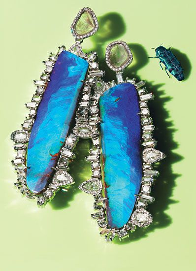 Kimberly McDonald platinum, black opal, and diamond earrings.