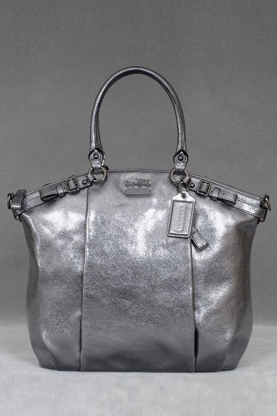 Coach Madison Metallic Leather Lindsey In Gunmetal - Beyond the Rack