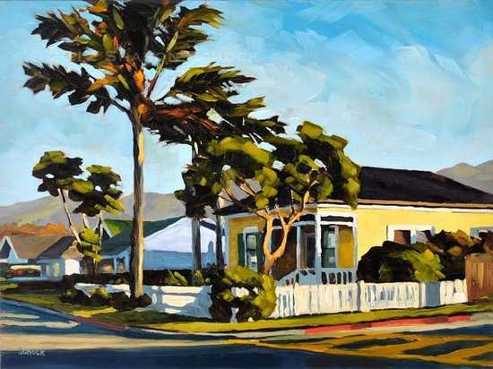 Ah, l love yellow houses! A great hometown scene. Roger Carrier's note