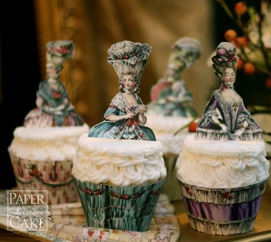 Marie Antoinette Cupcake Wrappers / Toppers. Let them eat... you know...