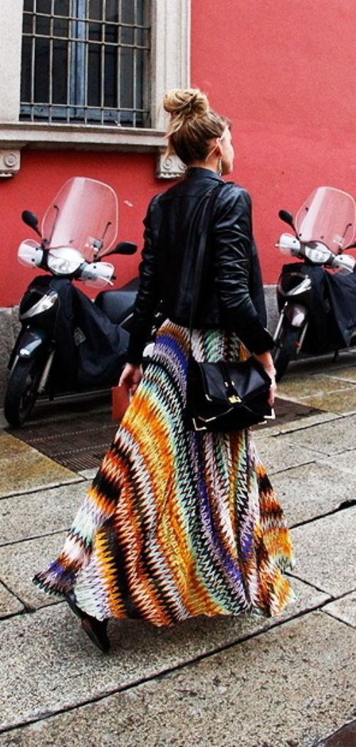 black leather jacket, maxi skirt