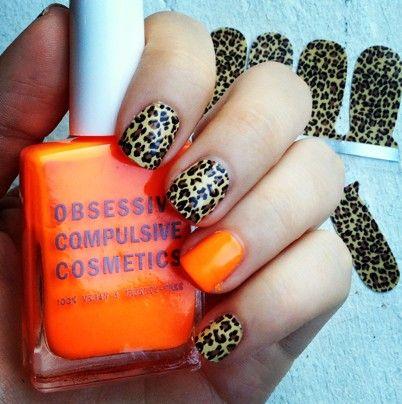 leopard + orange accent mani.