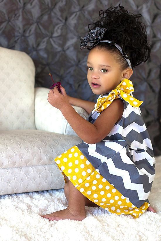 Gray Chevron Pillowcase Dress Yellow Polka by SassyDivasDressShop, $26.95