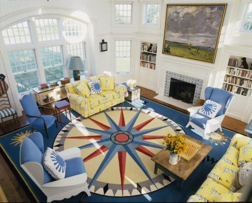 Cute compass rose rug!  Discovered at Brightboldbeautif...