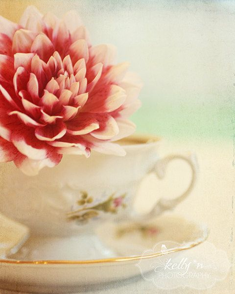 Dahlia and Teacup- Still Life Photograph- Vintage Teacup- Cottage Chic via Etsy. #fpoe