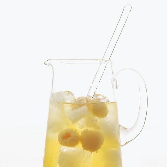Sauvignon Blanc, vodka, sake, pear, orange, apple, lychee, pineapple // More Amazing Sangria Recipes: www.foodandwine.c... #foodandwine