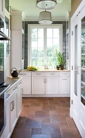 Kitchen Design with white interior and safe floors.
