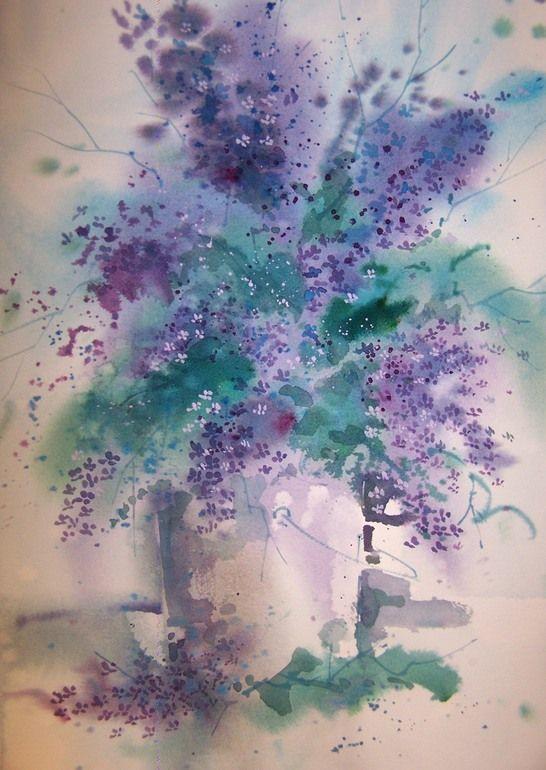 """Saatchi Online Artist: Micheal Jones; Watercolor, 2012, Painting """"Lilacs"""""""
