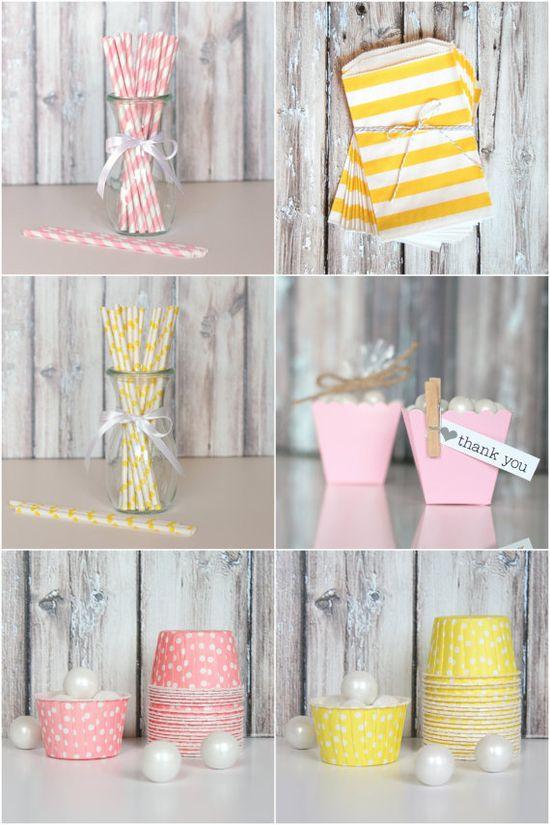 Pink + Yellow Party Supplies via The TomKat Studio