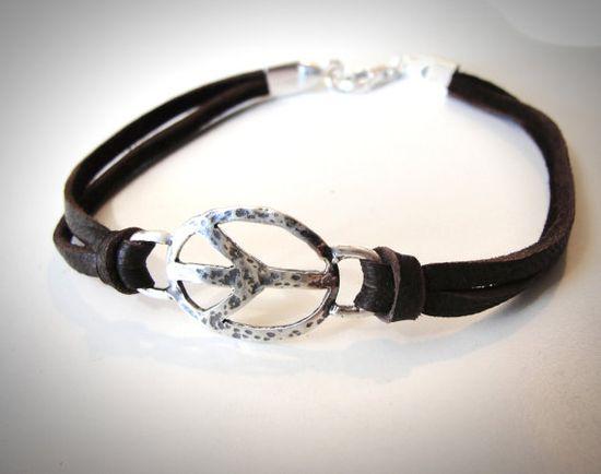 Sterling Peace Piece bracelet by JewelryByMaeBee on Etsy, $28.00