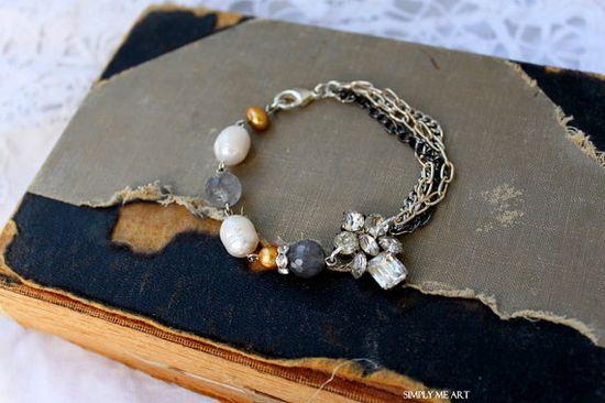 ? Vintage Rhinestone, Gemstone and Pearl Bracelet~