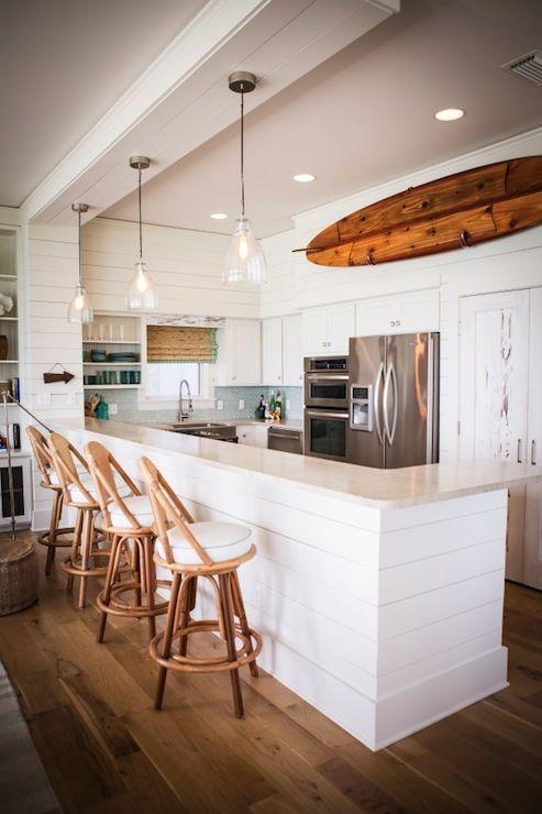 Kitchen: beach cottage, white cabinets