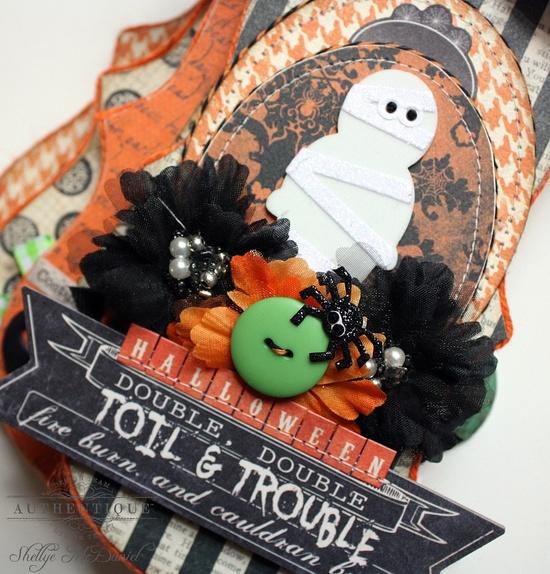 Halloween --TOIL and TROULBE- Scroll Shaped Mini Scrapbook Album/Journal. $35.00, via Etsy.