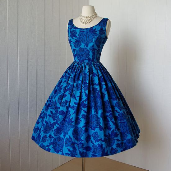1950's Cabbage Rose dress